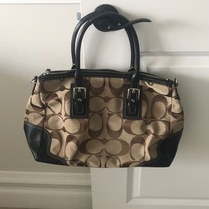 Authentic coach jacquard purse in brown